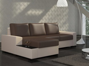Canapé d'angle convertible design NEGRA Beige Marron PU