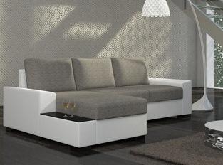 Canap� d'angle convertible design NEGRA Blanc Gris clair