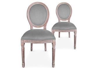 Lot de 2 chaises Louis XVI tissu gris