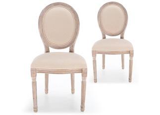 Lot de 2 chaises Louis XVI tissu beige
