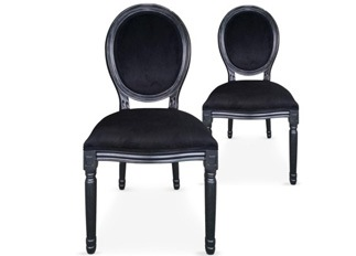 Lot de 2 chaises Louis XVI black velours noir