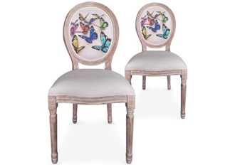 Lot de 2 chaises Louis XVI papillons beige