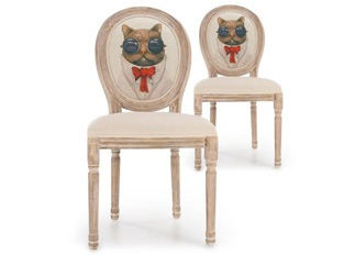 Lot de 2 chaises Louis XVI chat beige