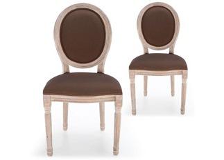 Lot de 2 chaises Louis XVI tissu marron