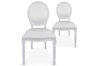 Lot de 2 chaises Louis XVI similicuir blanc
