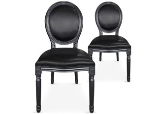 Lot de 2 chaises Louis XVI similicuir noir