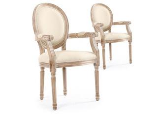 Lot de 2 chaises Louis XVI cosy tissu beige