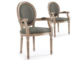 Lot de 2 chaises Louis XVI cosy tissu gris