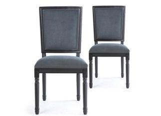 Lot de 2 chaises classiques King black velours gris