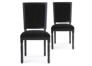 Lot de 2 chaises classiques King black velours noir