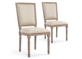 Lot de 2 chaises classiques King tissu beige