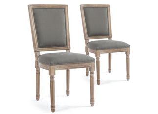 Lot de 2 chaises classiques King tissu gris