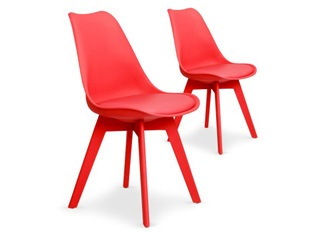 Lot de 2 chaises June rouge
