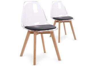 Lot de 2 chaises Flaubert plexi noir