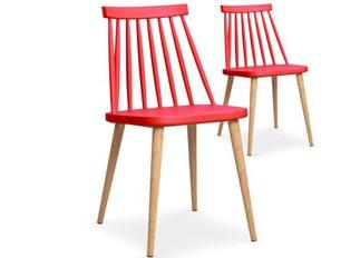 Lot de 2 chaises Deauville rouge