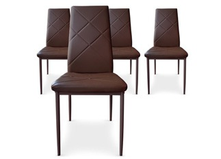 Lot de 4 Chaises Loto marron