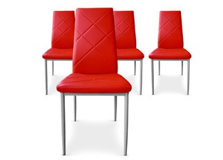 Lot de 4 Chaises Loto rouge