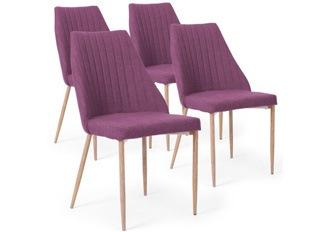 Lot de 4 Chaises Lola tissu violet