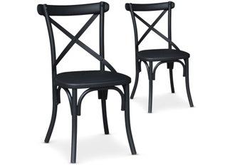 Lot de 2 Chaises Angela noir mat