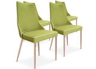 Chaises Design Marco Vert tissu VENDU PAR 4