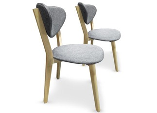 Lot de 2 chaises Cane Gris
