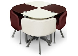 Table damier 4 chaises bicolore ecru marron