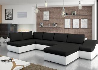 Canap� d'angle convertible design GIORNO noir et blanc
