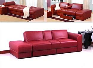 Canapé convertible Cazbar II rouge en simili cuir
