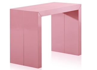 Table console rose laquée