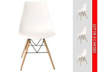 Lot de 4 chaises scandinaves blanc