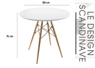 Table ronde style scandinave blanc