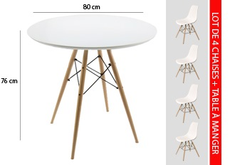 TABLE SCANDINAVE BLANC LOT DE 4 CHAISES SCANDINAVES