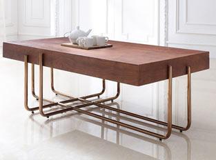 Table basse cuivre et bois design FORESTI