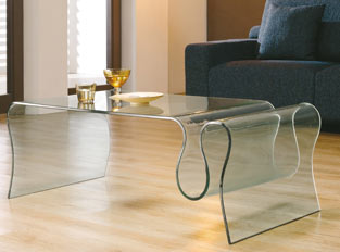 Table basse design en verre transparent ZIM