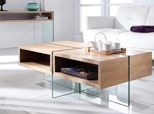 Table basse bois et verre WOODI