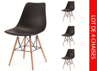 Lot de 4 chaises scandinaves noir