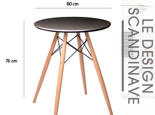 Table ronde style scandinave noir