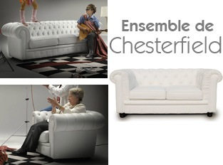 Set 3 Chesterfield Blanc