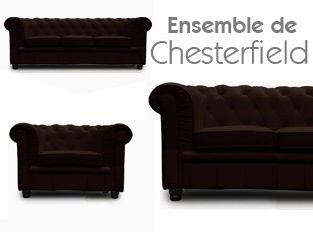 Set 3 Chesterfield marron