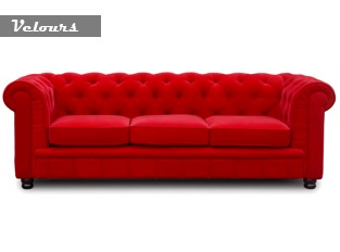 Chesterfield 3 places velours rouge