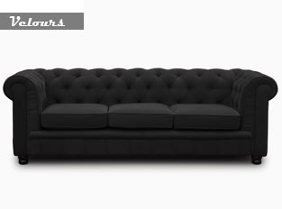 Chesterfield 3 places velours noir