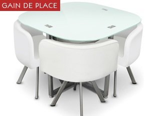 Table damier 4 chaises blanc