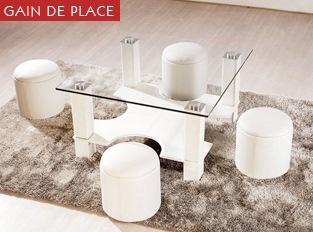 Table basse avec poufs Puzzle