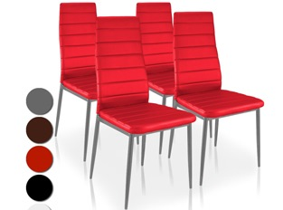 Lot de 4 chaises Softy rouge