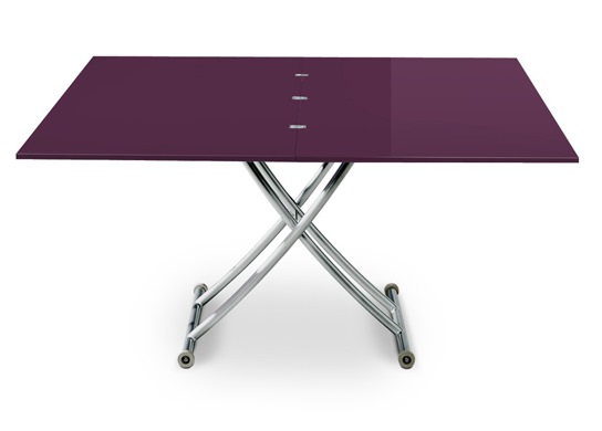 Table basse relevable Carrel XL violet laqué