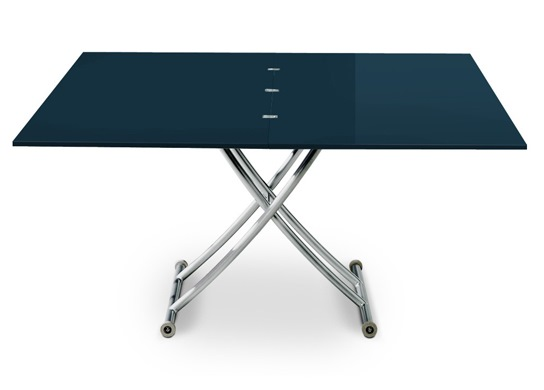 Table basse relevable Carrel XL bleu laqué