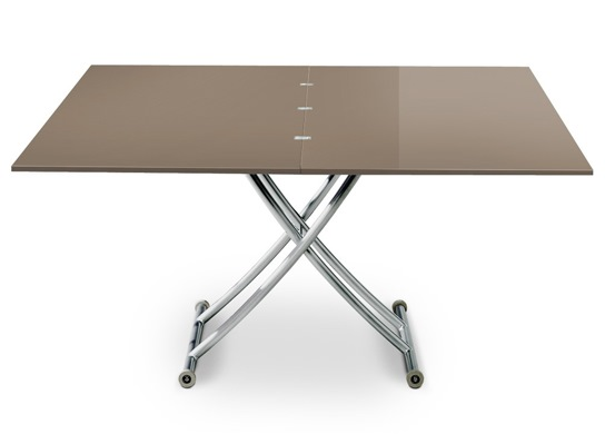 Table basse relevable Carrel XL taupe laqué