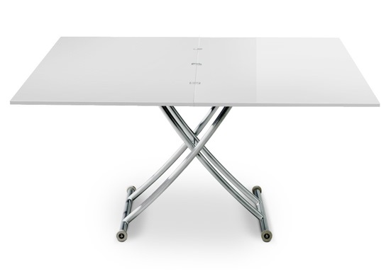 Table basse relevable Carrel XL blanc laqué