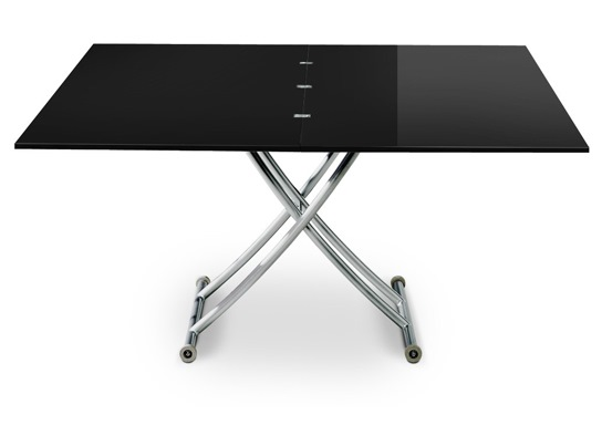Table basse relevable Carrel XL noir laqué