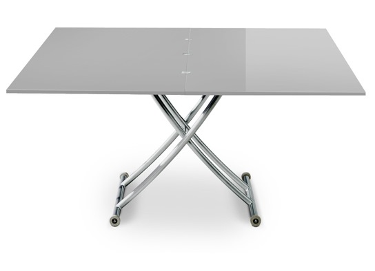 Table basse relevable Carrel XL gris laqué
